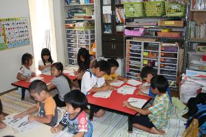書き方教室でのこどもたち